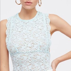 NWT FREE PEOPLE SURE THANG MINT LACE TANK